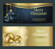 Set of cards with Christmas BALLS, stars and Royalty Free Stock Images