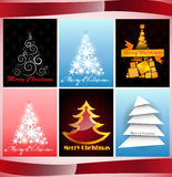 Set of cards Christmas tree Stock Images