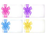 Set of cards with coloured ribbons Royalty Free Stock Photos