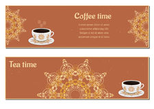 Set of cards with cups. Ornate eastern round elements royalty free illustration