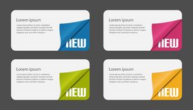 Set Of Cards With Curved Corners - Business Layout For Coupons And Certificates - Vector Illustration - Isolated On White Backgrou vector illustration