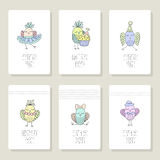 Set cards with cute birds in different actions Royalty Free Stock Photography