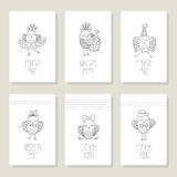 Set cards with cute birds in different actions Stock Image