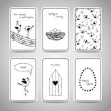 Set of 6 cards with cute birds. Stock Image