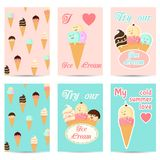 Set of cards with cute cartoon ice cream character Royalty Free Stock Images