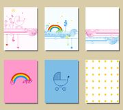 Set of  cards. Set of cute creative cards with  baby elements Stock Photos