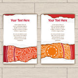 Set of Cards Decorated With Red and Gold Mandala Stock Photos