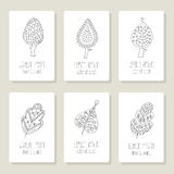 Set of cards with doodle trees, flowers, fruits Stock Image