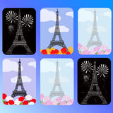 Set of cards with eiffel tower Royalty Free Stock Images