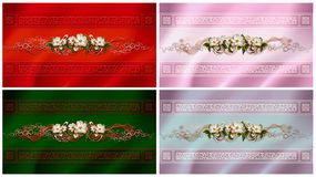 A set of cards with elegant floral and ornamental border Stock Images