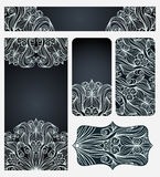 Set Of Cards With Elegant Line Art Pattern Royalty Free Stock Images
