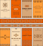 A set of cards with elements in the African style. Stock Photo
