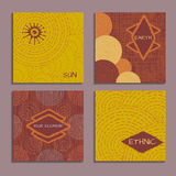 Set of cards with ethnic design. Templates for invitation, scrapbook or wedding card Royalty Free Stock Images