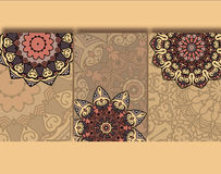 Set of cards with ethnic pattern . Drawings of the different ethnic cards with mandalas Royalty Free Stock Photo