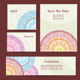Set of cards in ethnic style Stock Photo