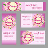 Set of cards with floral disign in the same style. Set vector cards with floral disign in the same style and different size and shape for your business needs Stock Photography
