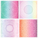 Set of 4 cards with floral mandala on tender gradient background.  Stock Photo