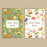 Set of Cards with Floral Pattern Royalty Free Stock Photography