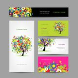 Set of cards, floral tree for your design Royalty Free Stock Images