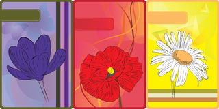 Set of cards with flowers Stock Photography
