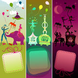 Set of 3 cards with funny circus caravan. Cards set - traveling colorful circus caravan with magician, elephant, dancer, acrobat and various fun characters Stock Photos