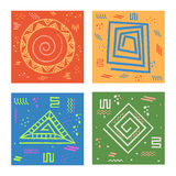 Set of cards with geometric abstract pattern. Set of four colorful cards with different creative geometric abstract patterns, Creative hand drawn  illustration Royalty Free Stock Photography