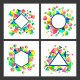 Set of cards with geometric abstract pattern. Set of four colorful cards with different creative geometric abstract patterns and space for your text Royalty Free Stock Photography