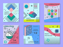 Set of cards with geometric elements Memphis style. Bright composition hipster party, birthday card vector illustration