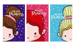 Set of cards for girls. Set of my little princess cards for girls vector illustration graphic design Royalty Free Stock Photo