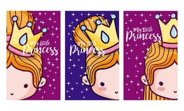 Set of cards for girls. Set of my little princess cards for girls vector illustration graphic design Stock Photo