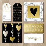 Set of cards with gold valentines day design. Royalty Free Stock Images