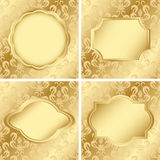 Set of cards with golden texture - eps Royalty Free Stock Photos