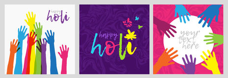 Set of cards for Holi festival in India.Brightly colored posters with colorful hand. Logo Holi. Banner with a wish  Royalty Free Stock Photos
