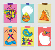 Set of cards for Holi festival. Vector illustration. Royalty Free Stock Photo
