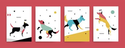 A set of cards withdogs in the Memphis style. A set of cards for the holidays with a dog in the Memphis style. Illustration of birds with geometric shapes Stock Photos