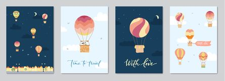 Set of cards with hot air balloons. Set of cards with vector illustration of landscape with hot air balloons in night sky in town. Isolated flat cartoon air Stock Image