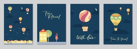 Set of cards with hot air balloons. Set of cards with vector illustration of landscape with hot air balloons in night sky in town. Isolated flat cartoon air Royalty Free Stock Photos