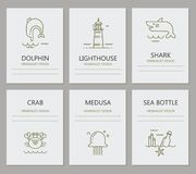 Marine inhabitants of the card. Set of cards with icons of marine life. There is a place for text Stock Images