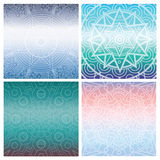 Set of cards with indian mandala on blue gradient background. Bohemian ornament for posters or banners. Stock Photos