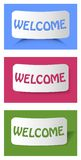 Set of cards with inscription welcome on cambered paper. Three colors - blue, dark pink and green, three different arts of shadow. Royalty Free Stock Photography