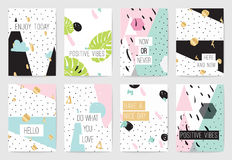 Set of cards with inspirational quotes. Stock Image