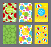 Set of cards with lettering. Summer day, happy picnic, have a nice day. Front and back template. Illustration Royalty Free Stock Image