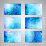 Set of cards with light blue abstract pattern Royalty Free Stock Images