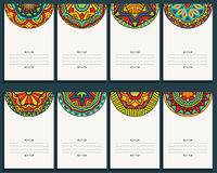 Set Of 8 Cards With Mexican Ornaments. Collection of banners with bright ethnic patterns. Copy space. Template for greeting card, invitation or poster Stock Image