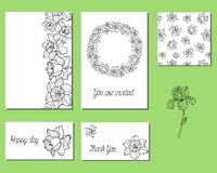 Set of cards with narcissus flowers royalty free illustration