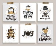 Set of cards for new year and christmas. Stock Photography