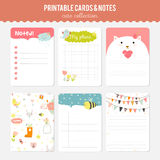 Set of cards, notes and stickers with cute Stock Photography