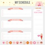 Set of cards, notes and stickers with cute Royalty Free Stock Photography