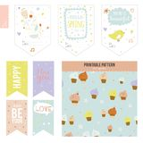 Set of cards, notes and stickers with cute Stock Image