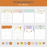 Set of cards, notes and stickers with cute Stock Photo